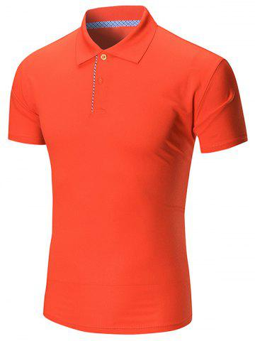 Plain Half Buttoned Polo Shirt - Jacinth - L