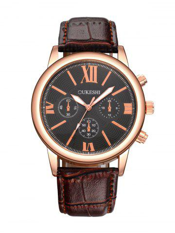 New Faux Leather Roman Numeral Wrist Quartz Watch BLACK AND BROWN