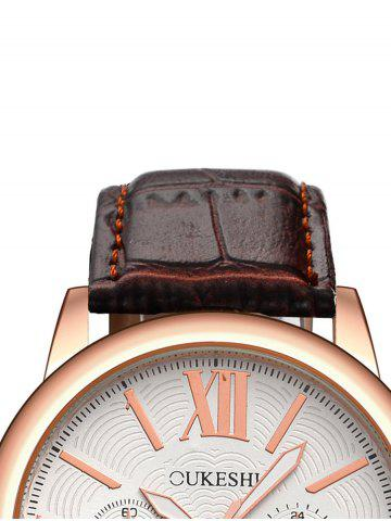 Best Faux Leather Roman Numeral Wrist Quartz Watch - WHITE AND BROWN  Mobile