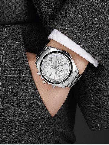 Outfit Number Steel Strap Quartz Watch - WHITE  Mobile