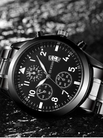 Sale Stainless Steel Date Number Quartz Wrist Watch - BLACK  Mobile