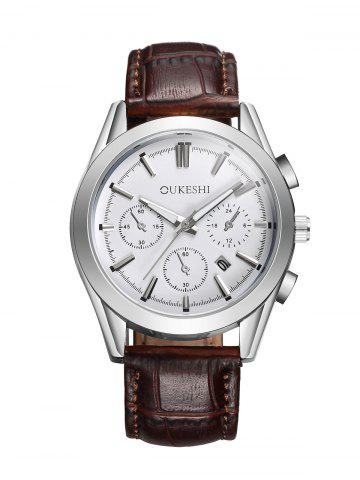 Buy Faux Leather Strap  Date Quartz Watch WHITE AND BROWN