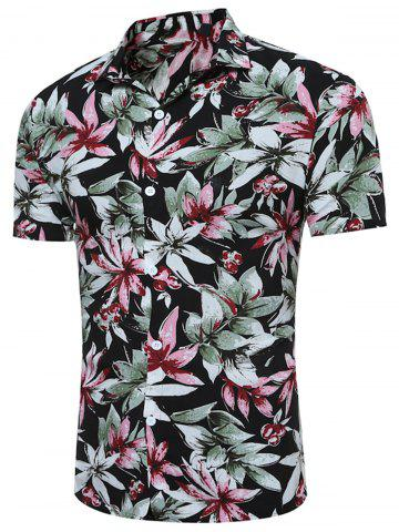 Cheap Short Sleeve 3D Florals Print Breathable Shirt BLACK L
