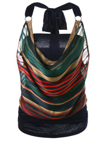 Store Striped Halter Lurex Cowl Tank Top - M COLORMIX Mobile