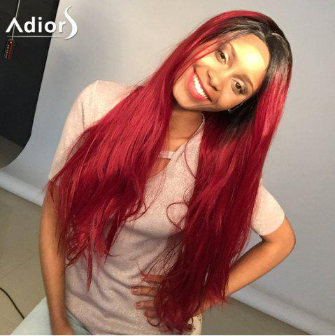 Cheap Adiors Long Colormix Natural Straight Lace Front Synthetic Wig - 24INCH BLACK AND RED Mobile