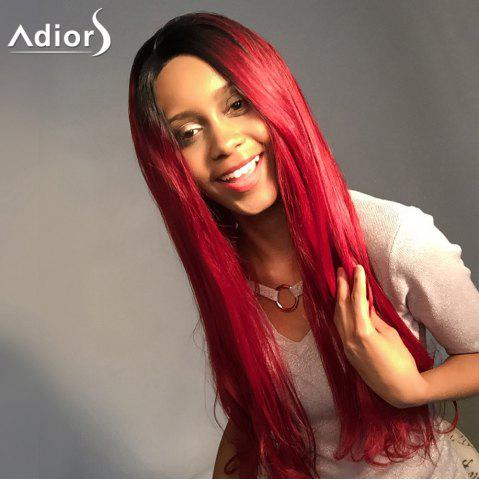 Fancy Adiors Long Colormix Natural Straight Lace Front Synthetic Wig - 24INCH BLACK AND RED Mobile