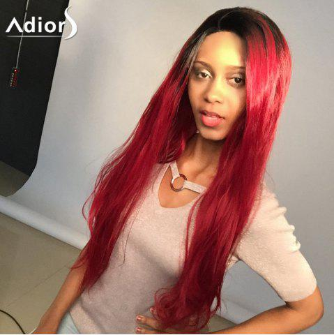 Outfits Adiors Long Colormix Natural Straight Lace Front Synthetic Wig - 24INCH BLACK AND RED Mobile
