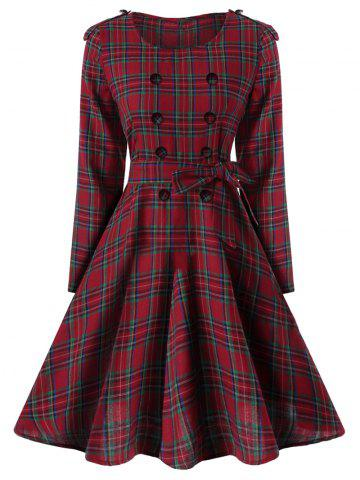 Cheap Vintage Buttons Epaulette Checked Dress RED 2XL