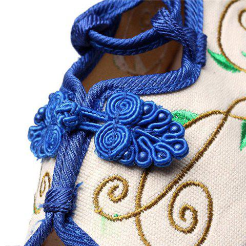 Hot Embroidery Knot Button Peep Toe Shoes - 38 BLUE Mobile