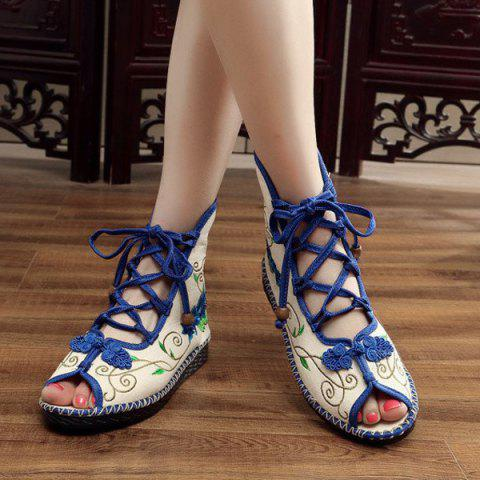 Fashion Embroidery Knot Button Peep Toe Shoes - 38 BLUE Mobile