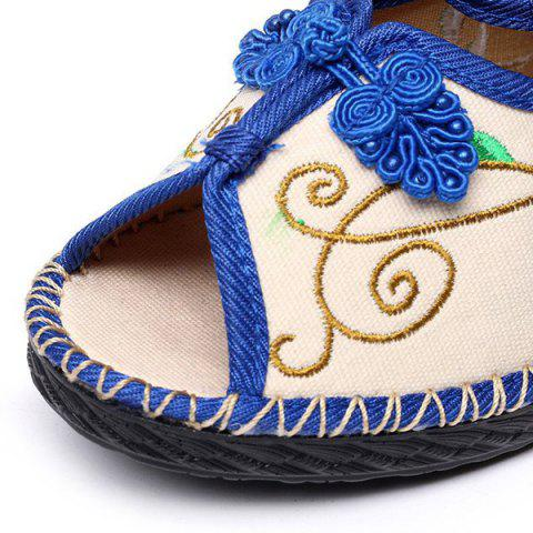 Store Embroidery Knot Button Peep Toe Shoes - 38 BLUE Mobile