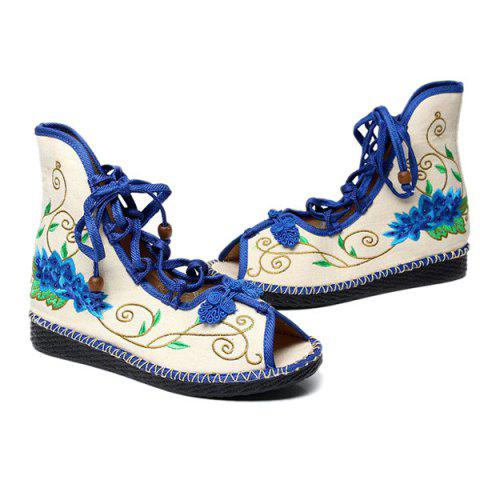 Sale Embroidery Knot Button Peep Toe Shoes - 38 BLUE Mobile