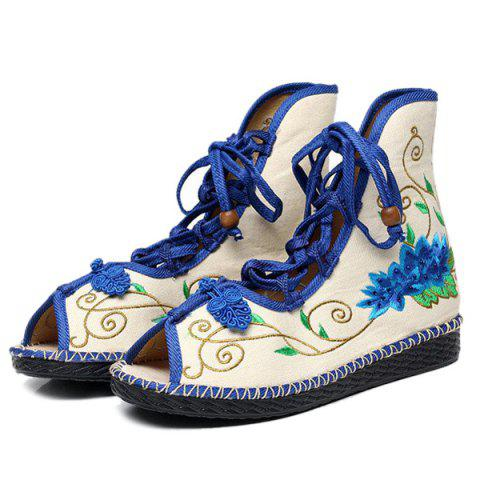 New Embroidery Knot Button Peep Toe Shoes - 38 BLUE Mobile