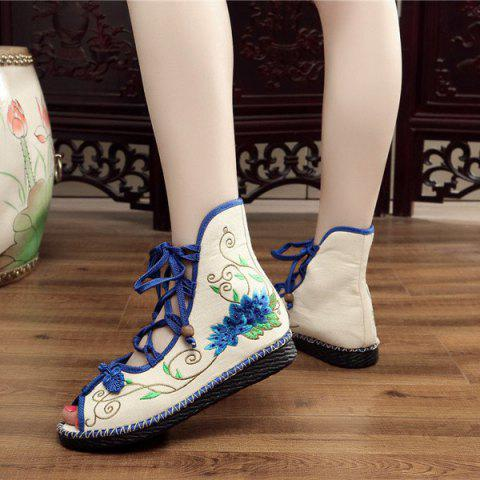 Cheap Embroidery Knot Button Peep Toe Shoes - 38 BLUE Mobile