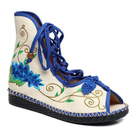 Shop Embroidery Knot Button Peep Toe Shoes