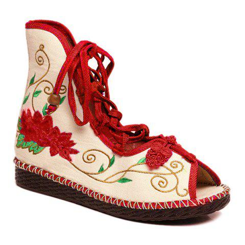 Cheap Embroidery Knot Button Peep Toe Shoes RED 39