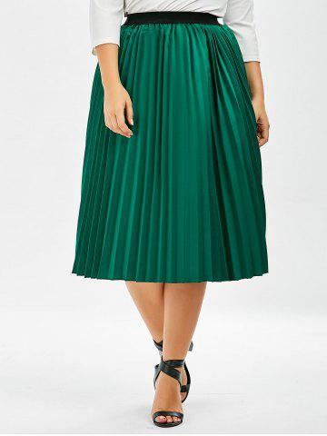 Cheap Plus Size Sparkly Pleated Midi Skirt - XL GREEN Mobile
