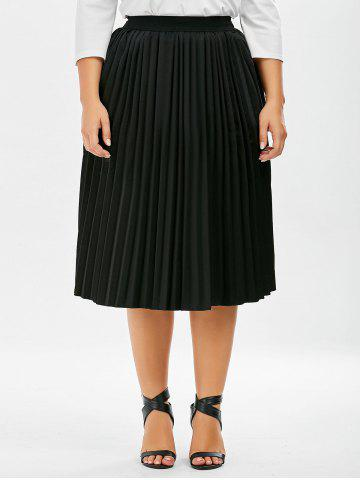 New Plus Size Sparkly Pleated Midi Skirt - 5XL BLACK Mobile