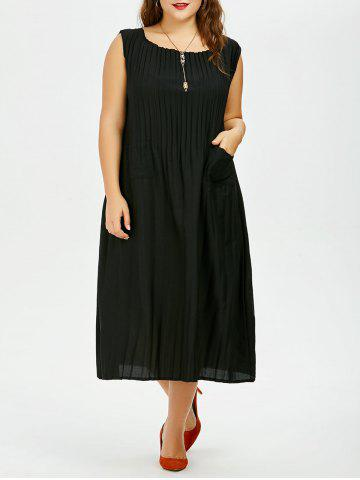 Plus Size Midi Pleated Tea Length Casual Dress - Black - One Size