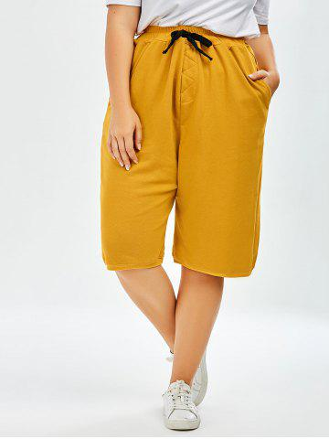 Discount Plus Size Drawstring Wide Leg Pants - ONE SIZE GINGER Mobile
