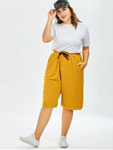 Affordable Plus Size Drawstring Wide Leg Pants - ONE SIZE GINGER Mobile