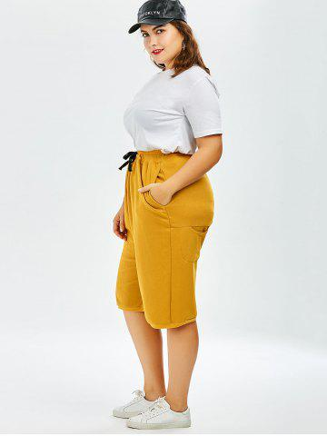 New Plus Size Drawstring Wide Leg Pants - ONE SIZE GINGER Mobile