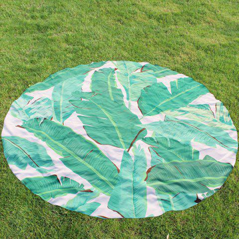 Latest Palm Leaf Print Round Beach Throw - GREEN  Mobile