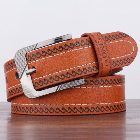 Fancy Spindrift Pattern Pin Buckle PU Wide Belt