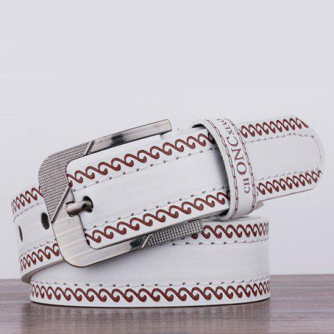 Store Spindrift Pattern Pin Buckle PU Wide Belt - WHITE  Mobile