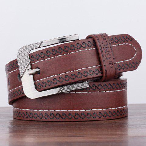 Buy Spindrift Pattern Pin Buckle PU Wide Belt - COFFEE  Mobile