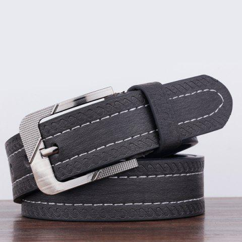 Sale Spindrift Pattern Pin Buckle PU Wide Belt - BLACK  Mobile