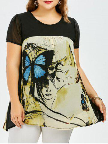 Store Plus Size Sweet Butterfly Print Asymmetrical Blouse