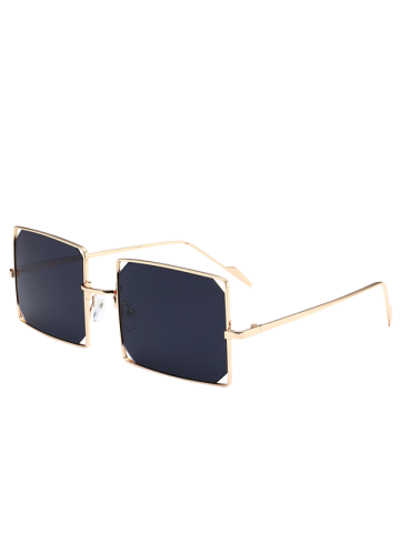 Cut Out Lens Metal Rectangle Sunglasses - Gold Frame + Black Lens