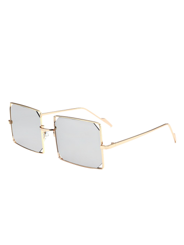 Shop Hollow Out Mirrored Lens Metal Rectangle Sunglasses GOLD FRAME / SILVER LENS