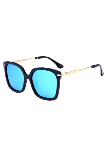 Cheap Metal Leg Mirrored Butterfly Sunglasses BLACK FRAME + BLUE