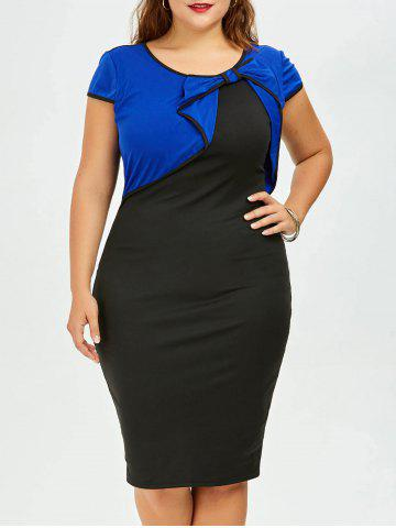 Plus Size Bow Embellished Knee Length Bodycon Dress - Blue And Black - Xl