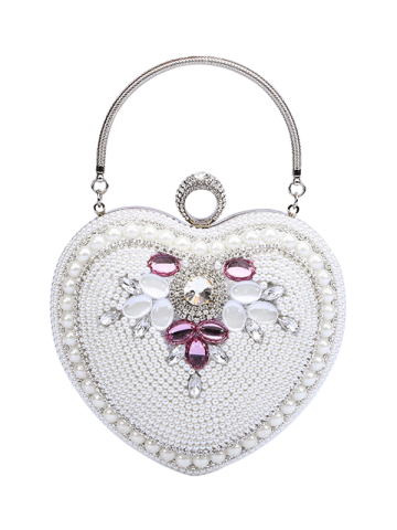 Sale Heart Shaped Beading Evening Bag - WHITE  Mobile