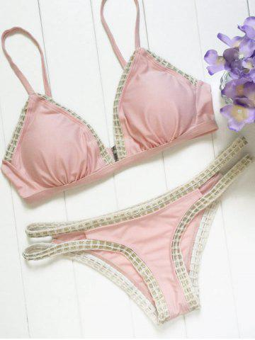 Unique Trendy Piped Pink Women's Bikini Set
