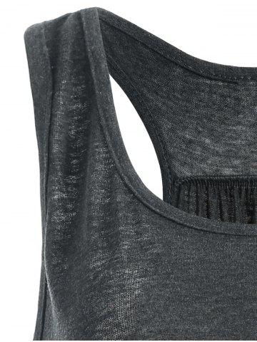 Outfit My Boobs Low Fat Graphic Tank Top - S DEEP GRAY Mobile