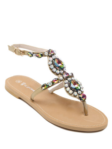 Outfit Flat Heel Fancy Coloured Diamond Sandals
