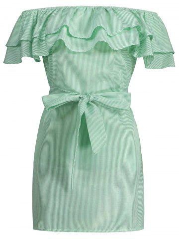 Off The Shoulder Flounce Belted Striped Dress Vert clair S
