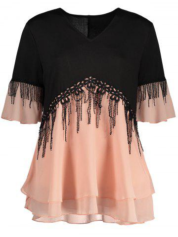Shop Plus Size Fringe Color Block Top - 4XL ORANGEPINK Mobile