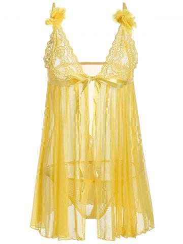 Affordable Sheer Mesh Lace Panel Slip Babydoll - ONE SIZE YELLOW Mobile