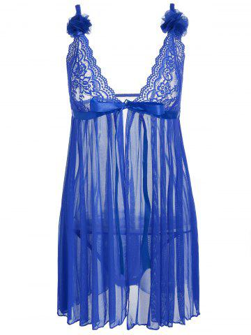 Store Sheer Mesh Lace Panel Slip Babydoll BLUE ONE SIZE