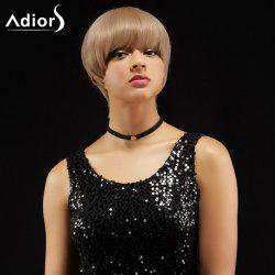 Adiors Short Straight Hairstyle Full Bang Capless Synthetic Wig