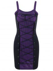 Spaghetti Strap Lace Up Bodycon Club Dress - PURPLE