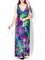Feather Print Floor Length Plus Size Dress