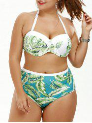 Tropical Palm Leaf Print Plus Size Halter Top Bikini Swimwear - GREEN