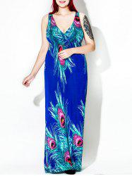 Plus Size Floor Length Feather Print Dress