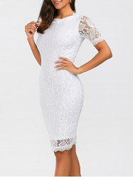 Fitted Knee Length Floral Lace Sheath Dress - WHITE
